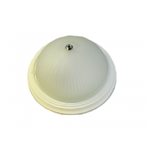 WHITE DOME FIXTURE WITH FROSTED GLASS