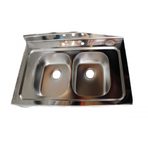 STAINLESS STEEL 2-BOWL SINK TOP